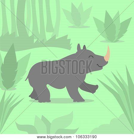 Cartoon Rhino Green Jungle Flat Vector