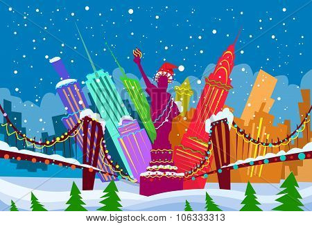 New York Skyline City Skyscraper Christmas Silhouette Year