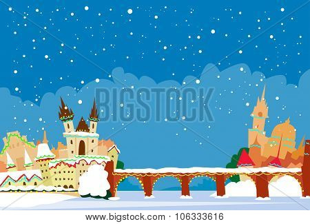 Prague Czech Republic Winter Snow New Year Skyline City Christmas Abstract Silhouette
