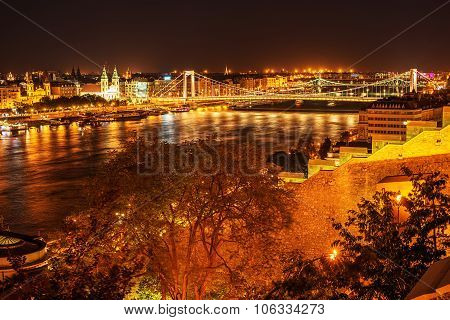 Aerial night view of Budapest, capital city of Hungary