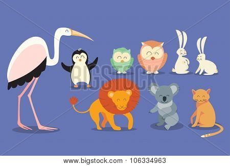 Animal Wild Collection Set Flat Vector