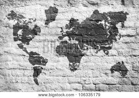 White Wall And A Picture Map Of The World