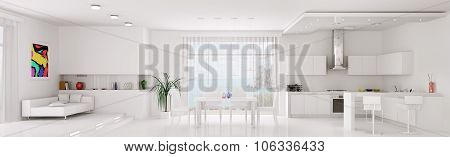 Interior Of White Apartment Panorama 3d rendering