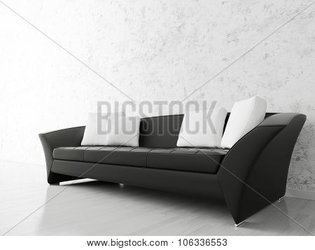 Interior With Black Sofa 3d rendering