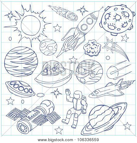 Sheet of exercise book with outer space doodles, symbols and design element. Cartoon background. Han