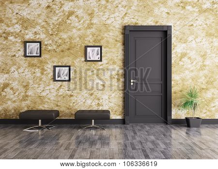 Modern Interior With Door 3d rendering