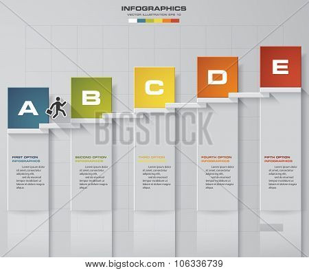 abstract business chart. 5 Steps diagram template/graphic or website layout.