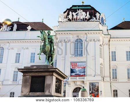 Statue Joseph Ii On Josefsplatz In Vienna