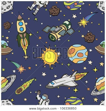 Seamless pattern with outer space doodles, symbols and design elements. Cartoon colorful background.