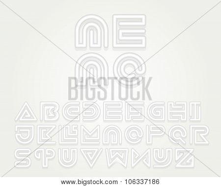 Snake Stripe Font Set. Emboss