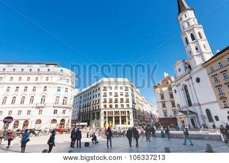 Tourist On Michaelerplatz In Vienna