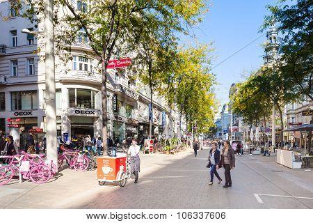 Shopping Area Of Mariahilferstrasse Street, Vienna