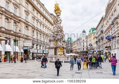 Tourists On Graben Street Near Plague Column