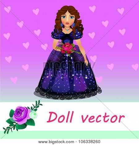 Doll Princess in blue evening dress with flower