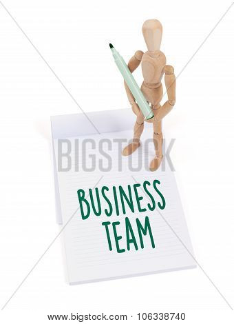 Wooden Mannequin Writing - Business Team