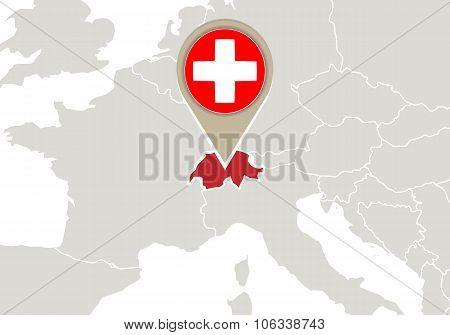 Switzerland On Europe Map