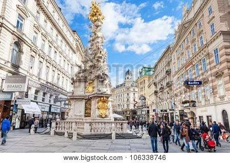 People On Graben Street In Vienna