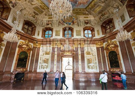 Tourists In Hall Of Upper Belvedere Palace, Vienna