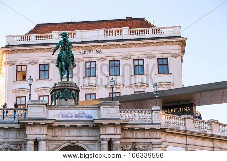 Monument Of Franz Joseph I And Albertina Museum