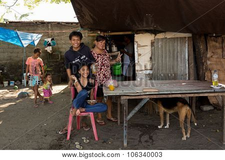 Indonesian Family In Manado Shantytown