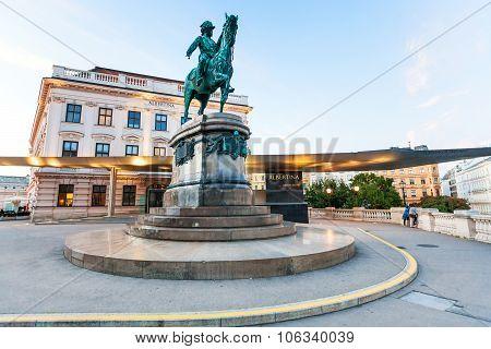 Franz Joseph Monument Near Albertina Museum Vienna