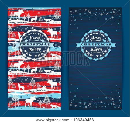 Merry Christmas Background With Typography. Vector Illustration.