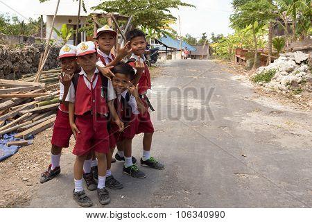 Balinese Hindu Boys In School Uniform