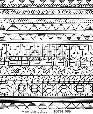 Hand Drawn Abstract Aztec Geometric Seamless Pattern