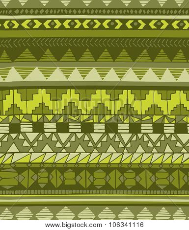 Hand Drawn Abstract Aztec Geometric Seamless Pattern In Green Colors