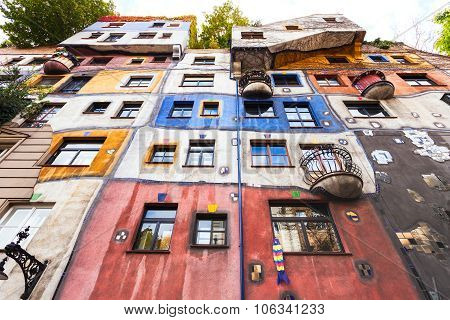 Facade Of Hundertwasser House In Vienna
