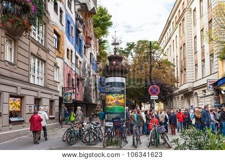 Tourists Near Hundertwasser House In Vienna