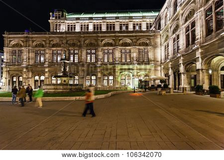 Square And State Opera House In Night, Vienna