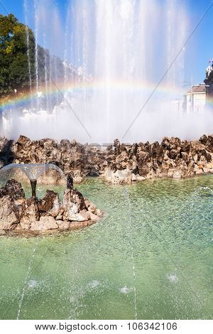 Rainbow In Hochstrahlbrunnen Fountain, Vienna