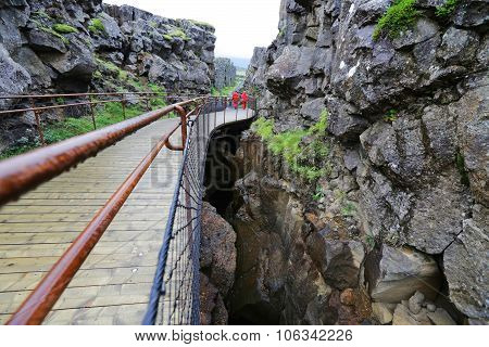 Rifts Of Tectonic Plates In Thingvellir In Iceland, Europe