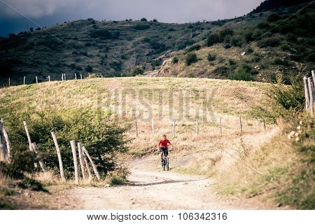 Mountain Bike Mtb Rider On Country Road, Track Trail In Inspirational Landscape