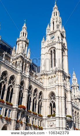 Facade Of Rathaus (town Hall) In Vienna
