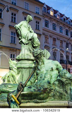 Enns Boatman Figure In Donnerbrunnen Fountain