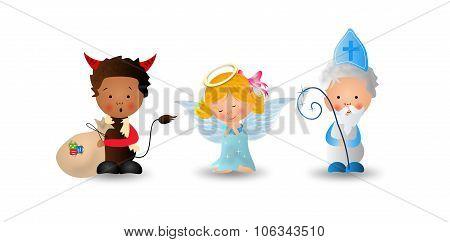 Saint Nicholas With Angel And Devil
