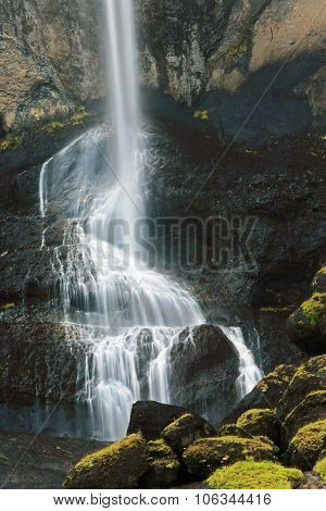 The Picturesque Waterfall Of Foss A Sidu Near Kirkjubaejarklaustu R In Southern Iceland.