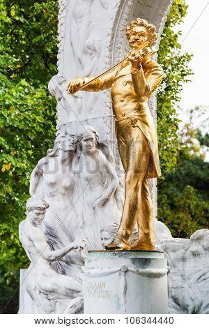 Golden Statue Johann Strauss In Stadtpark, Vienna