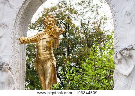 Gilded Statue johann Strauss In Stadtpark, Vienna
