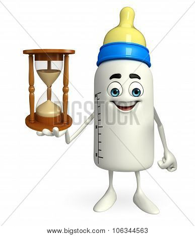 Baby Bottle Character With Sand Clock
