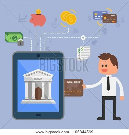 Vector illustration concept of internet banking. Icons for online mobile payments, credit cards, wir