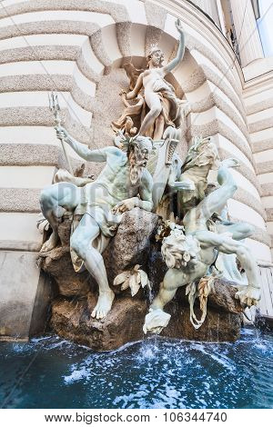 Fountain The Power Of The Sea In Hofburg, Vienna