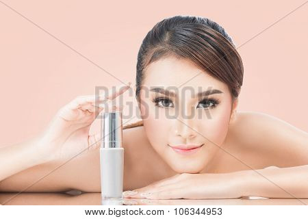 Skincare Products, Portrait Of Beautiful Young Woman Looking At Camera. Beautiful Asian Female Model
