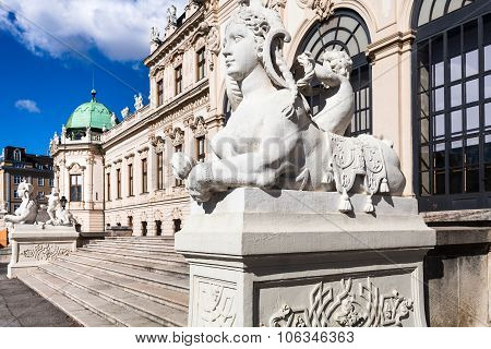 Sphinx Sculpture And Upper Belvedere Palace Vienna