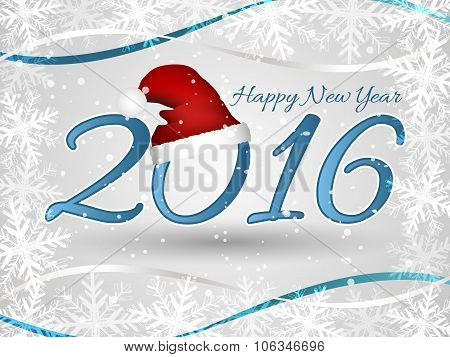 Happy New Year wishes or greeting card with Santa hat, ribbons and frame from snowflakes.