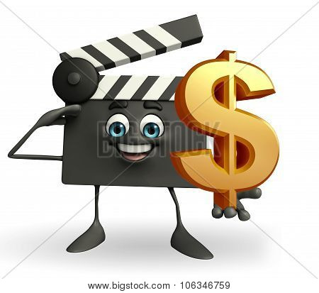 Clapper Board Character With Dollar Sign