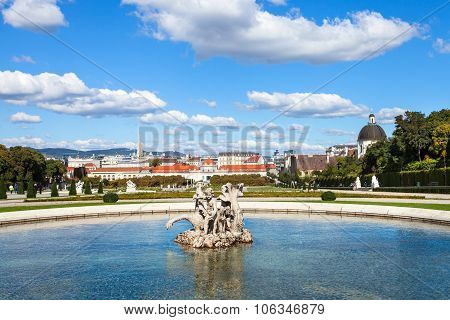 Lower Cascade Pool In Belvedere Garden, Vienna