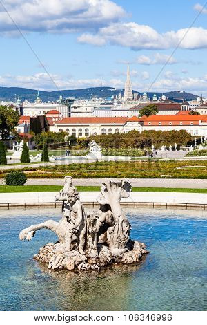 Sculpture And View Of Belvedere Palace, Vienna